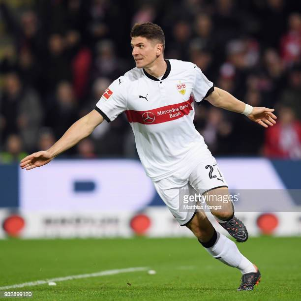 Mario Gomez of Stuttgart celebrates his team's first goalduring the Bundesliga match between SportClub Freiburg and VfB Stuttgart at...