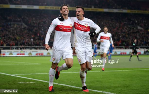 Mario Gomez of Stuttgart celebrates his team's third goal with teammate Philipp Foerster during the Second Bundesliga match between VfB Stuttgart and...