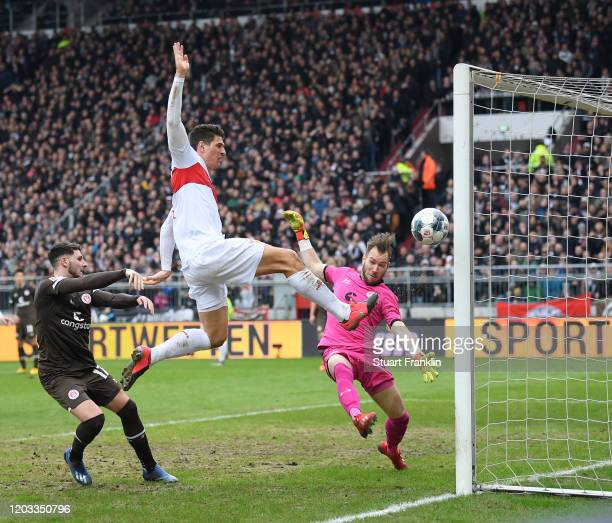 Mario Gomez of Stuttgart has a shot at goal stopped the Second Bundesliga match between FC St. Pauli and VfB Stuttgart at Millerntor Stadium on...