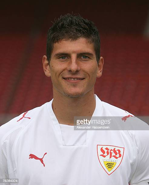 Mario Gomez of Stuttgart poses during the Bundesliga 1st Team Presentation of VfB Stuttgart at the GottliebDaimler stadium on July 9 2007 in...
