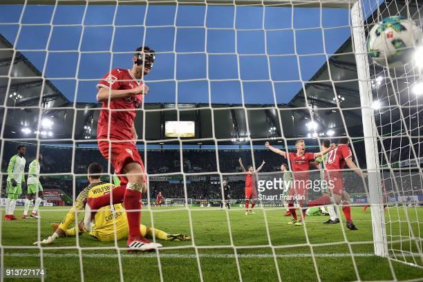 Mario Gomez of Stuttgart scores a goal to make it 11 during the Bundesliga match between VfL Wolfsburg and VfB Stuttgart at Volkswagen Arena on...