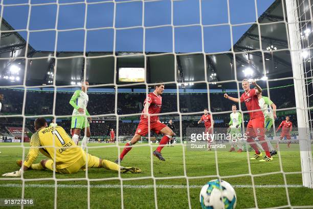 Mario Gomez of Stuttgart scores a goal to make it 11 during the Bundesliga match between VfL Wolfsburg and VfB Stuttgart at Volkswagen Arena on...