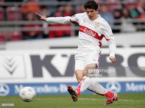 Mario Gomez of Stuttgart scores the 31 goal during the Bundesliga match between VfB Stuttgart and Hansa Rostock at the GottliebDaimler stadium on...