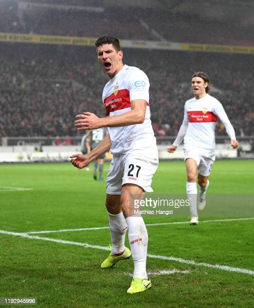 Mario Gomez of VfB Stuttgart celebrates after he scores his sides second goal during the Second Bundesliga match between VfB Stuttgart and 1 FC...