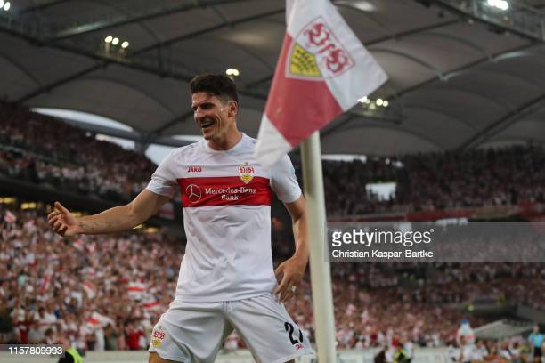 Mario Gomez of VfB Stuttgart celebrates after scoring his team`s first goal during the Second Bundesliga match between VfB Stuttgart and Hannover 96...