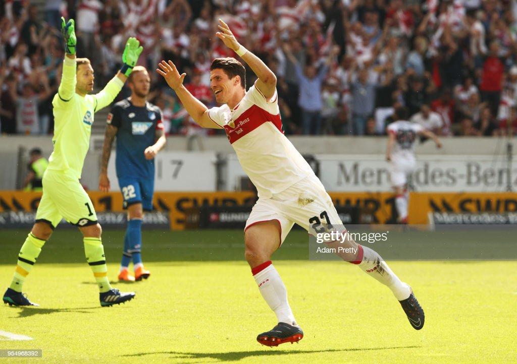 Mario Gomez of VfB Stuttgart celebrates after scoring the first goal during the Bundesliga match between VfB Stuttgart and TSG 1899 Hoffenheim at Mercedes-Benz Arena on May 5, 2018 in Stuttgart, Germany.