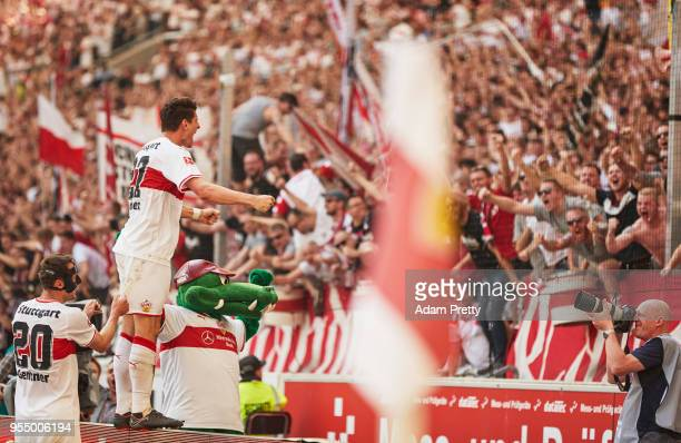 Mario Gomez of VfB Stuttgart celebrates after scoring the second goal during the Bundesliga match between VfB Stuttgart and TSG 1899 Hoffenheim at...