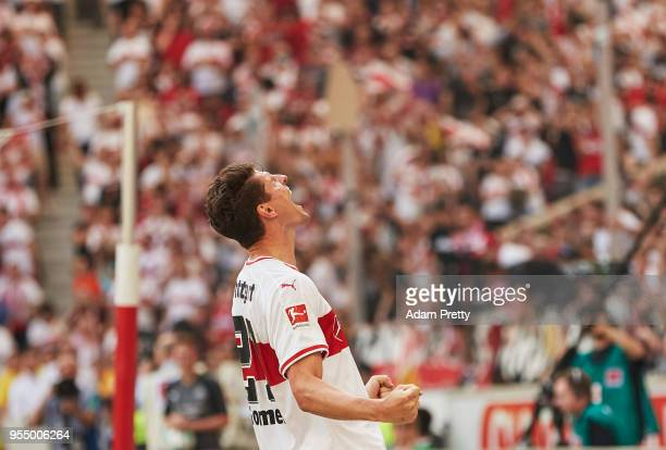 Mario Gomez of VfB Stuttgart celebrates after scoring the second goal during the Bundesliga match between VfB Stuttgart and TSG 1899 Hoffenheim at...