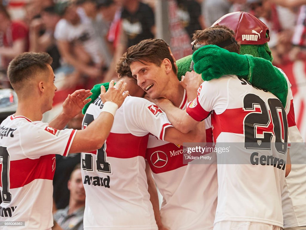 Mario Gomez of VfB Stuttgart celebrates after scoring the second goal during the Bundesliga match between VfB Stuttgart and TSG 1899 Hoffenheim at Mercedes-Benz Arena on May 5, 2018 in Stuttgart, Germany.