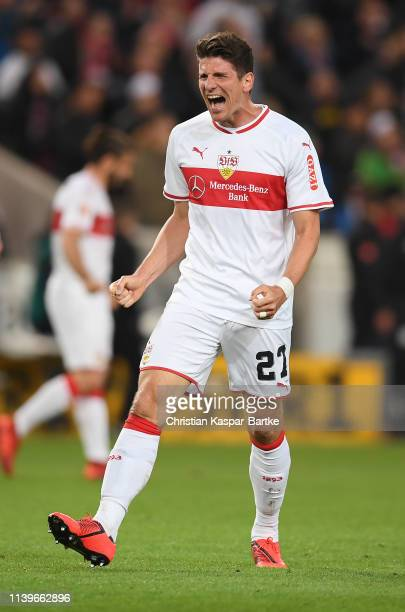 Mario Gomez of VfB Stuttgart celebrates victory after the Bundesliga match between VfB Stuttgart and Borussia Moenchengladbach at MercedesBenz Arena...