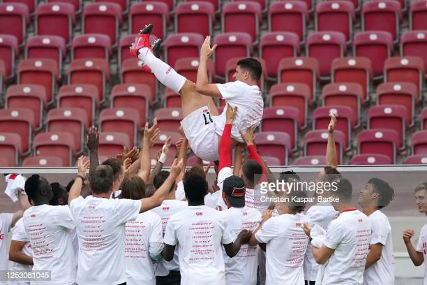 Mario Gomez of VfB Stuttgart is celebrated after his last game after the Second Bundesliga match between VfB Stuttgart and SV Darmstadt 98 at...