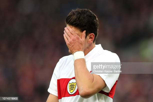 Mario Gomez of VfB Stuttgart reacts during the Bundesliga match between VfB Stuttgart and FC Schalke 04 at MercedesBenz Arena on December 22 2018 in...