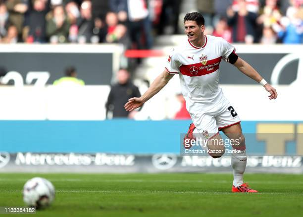 Mario Gomez of VfB Stuttgart scores his sides first goal during the Bundesliga match between VfB Stuttgart and Hannover 96 at MercedesBenz Arena on...