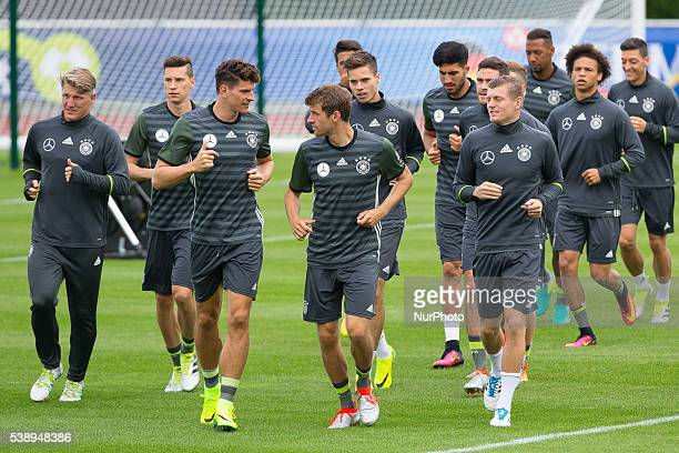 Mario Gomez Thomas Muller during a Germany training session ahead of the UEFA EURO 2016 at Ermitage Evian on June 9 2016 in EvianlesBains France...