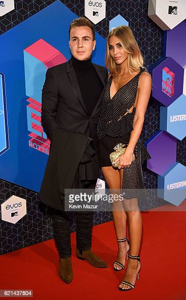 Mario Gotze and AnnKathrin Brommel attend the MTV Europe Music Awards 2016 on November 6 2016 in Rotterdam Netherlands