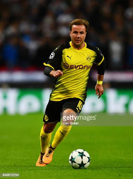 Mario Gotze controls the ball during the UEFA Champions League group H match between Tottenham Hotspur and Borussia Dortmund at Wembley Stadium on...