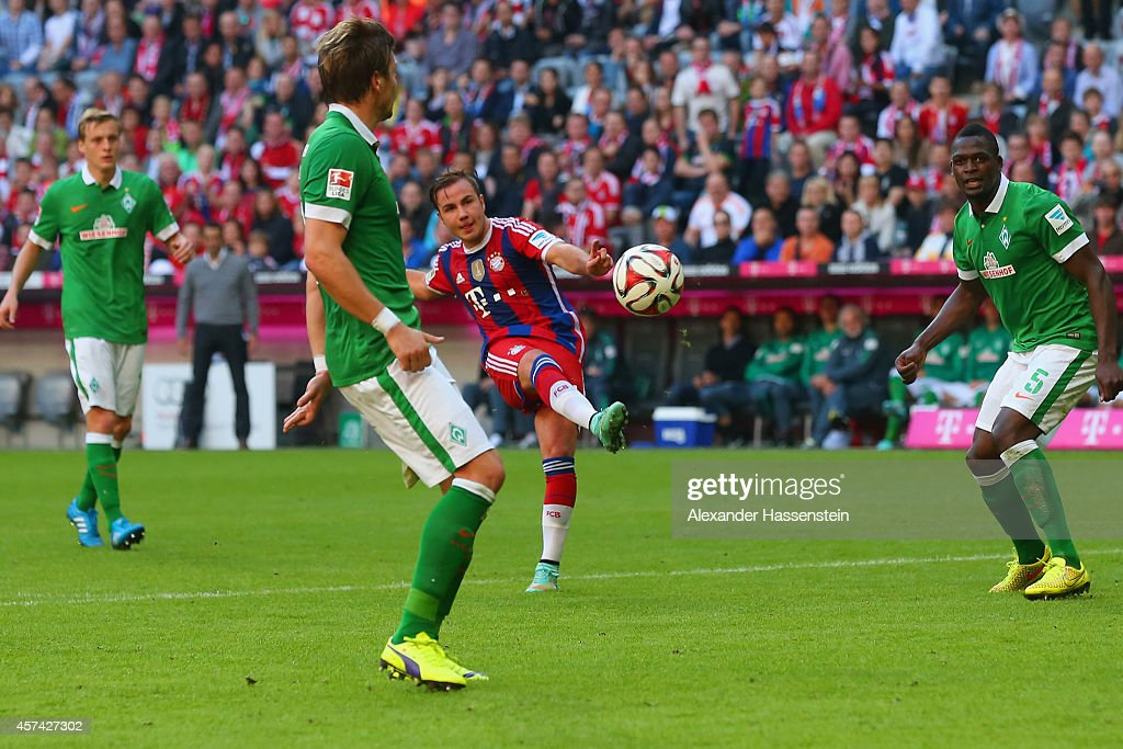 Mario Gotze of Bayern Muenchen scores their fourth goal during the Bundesliga match between FC Bayern Muenchen and SV Werder Bremen at Allianz Arena on October 18, 2014 in Munich, Germany.
