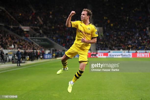Mario Gotze of Borussia Dortmund celebrates scoring the first goal during the Bundesliga match between TSG 1899 Hoffenheim and Borussia Dortmund at...