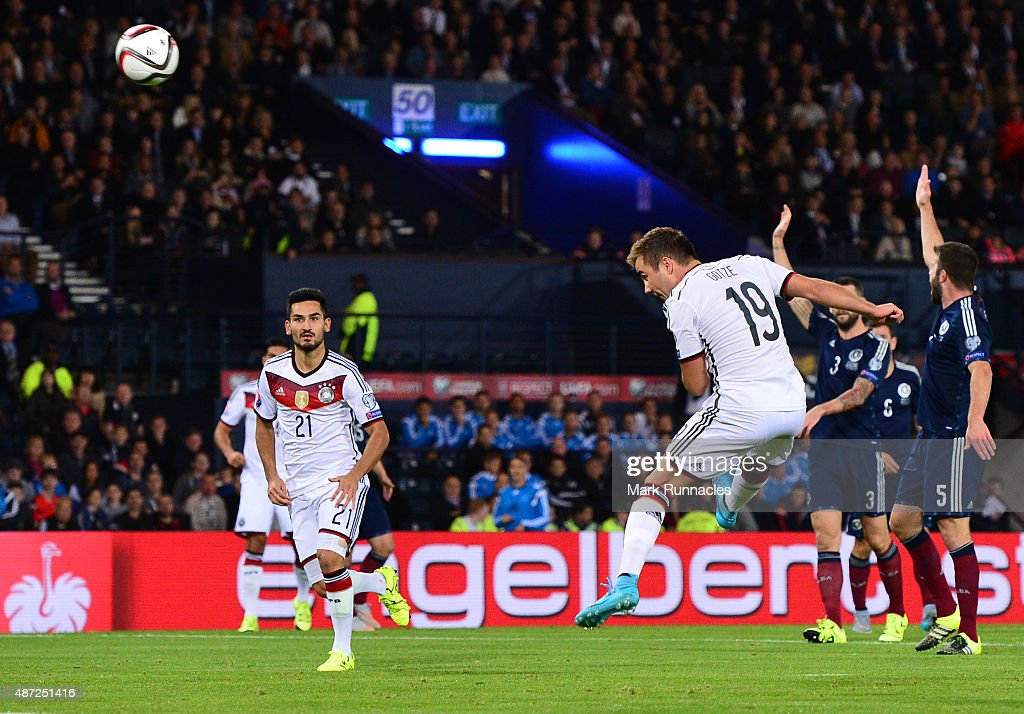 Mario Gotze of Germany has his second half headed goal disallowed for off side during the EURO 2016 Qualifier between Scotland and Germany at Hamden Park on September 7, 2015 in Glasgow, Scotland.