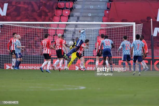 Mario Gotze of PSV Eindhoven, Philipp Max of PSV Eindhoven, Sebastien Haller of Ajax, goalkeeper Yvon Mvogo of PSV Eindhoven during the Dutch...