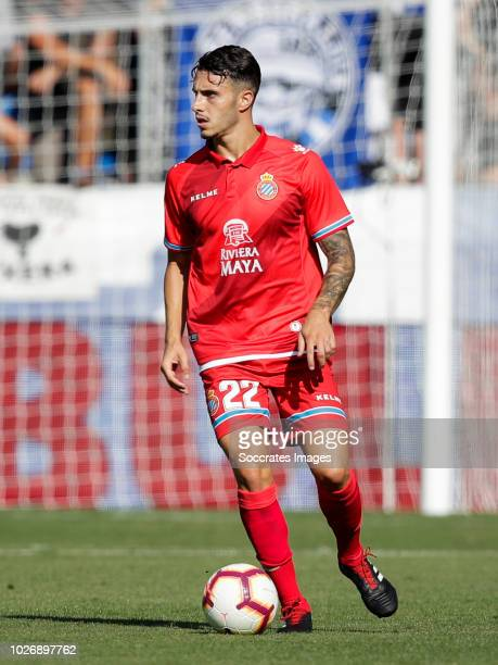 Mario Hermoso Canseco of RCD Espanyol during the La Liga Santander match between Deportivo Alaves v Espanyol at the Estadio de Mendizorroza on...
