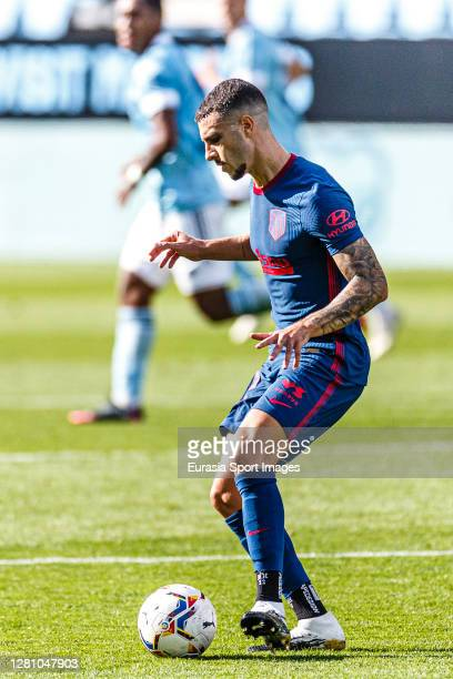 Mario Hermoso of Atletico de Madrid controls the ball during the La Liga Santander match between RC Celta and Atletico de Madrid at Abanca-BalaÌdos...