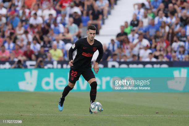 Mario Hermoso of Atletico de Madrid controls the ball during the Liga match between CD Leganes and Club Atletico de Madrid at Estadio Municipal de...