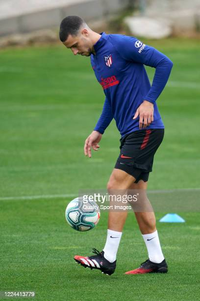 Mario Hermoso of Atletico de Madrid in action during a training session at Estadio Cerro del Espino on May 12 2020 in Madrid Spain