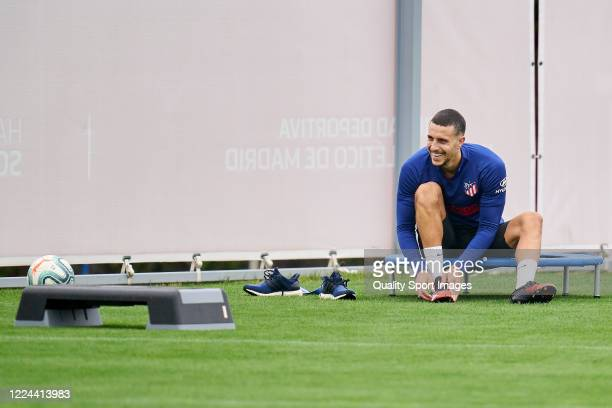 Mario Hermoso of Atletico de Madrid looks on during a training session at Estadio Cerro del Espino on May 12 2020 in Madrid Spain