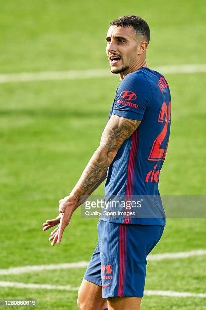 Mario Hermoso of Atletico de Madrid reacts during the La Liga Santander match between RC Celta and Atletico de Madrid at Abanca Balaidos Stadium on...