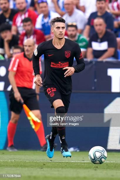 Mario Hermoso of Atletico de Madrid runs with the ball during the La Liga match between Legates and Atletico Madrid on August 25, 2019 in Leganes,...