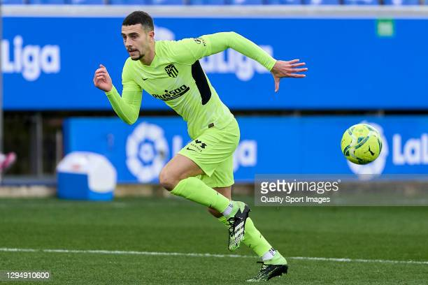 Mario Hermoso of Atletico de Madrid runs with the ball during the La Liga Santander match between Deportivo Alavés and Atletico de Madrid at Estadio...