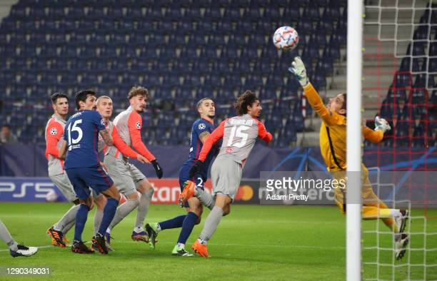 Mario Hermoso of Atletico de Madrid scores their team's first goal during the UEFA Champions League Group A stage match between RB Salzburg and...