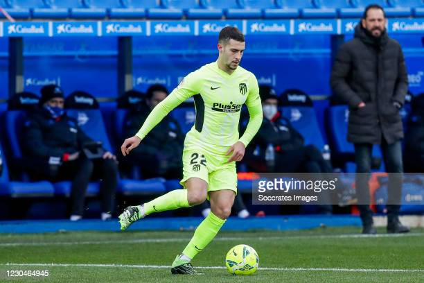 Mario Hermoso of Atletico Madrid during the La Liga Santander match between Deportivo Alaves v Atletico Madrid at the Estadio de Mendizorroza on...