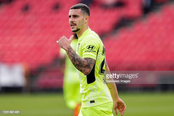 Mario Hermoso of Atletico Madrid during the La Liga Santander match between Granada v Atletico Madrid at the Estadio Nuevo Los Carmenes on February...