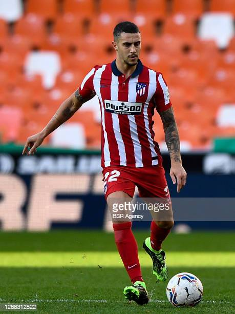Mario Hermoso of Atletico Madrid during the La Liga Santander match between Valencia CF and Atletico Madrid at Mestalla Stadium on november 28, 2020...