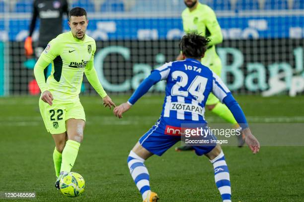 Mario Hermoso of Atletico Madrid, Jota Peleteiro of Deportivo Alaves during the La Liga Santander match between Deportivo Alaves v Atletico Madrid at...