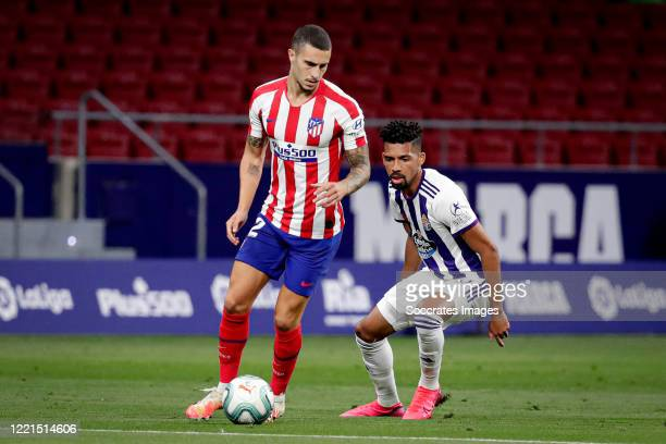 Mario Hermoso of Atletico Madrid Matheus Fernandes of Real Valladolid during the La Liga Santander match between Atletico Madrid v Real Valladolid at...