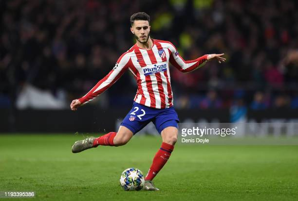 Mario Hermoso of Atletico Madrid passes the ball during the UEFA Champions League group D match between Atletico Madrid and Lokomotiv Moskva at Wanda...