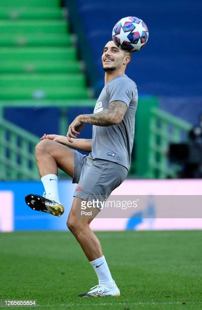 Mario Hermoso of Atletico Madrid trains during a training session ahead of their UEFA Champions League quarter-finals match against RB Leipzig at...