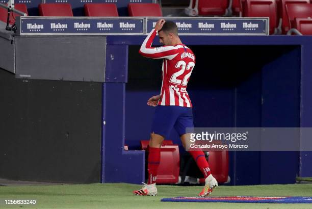 Mario Hermoso of Atletico Madrid walks off the pitch after being sent off during the La Liga match between Club Atletico de Madrid and Real Betis...