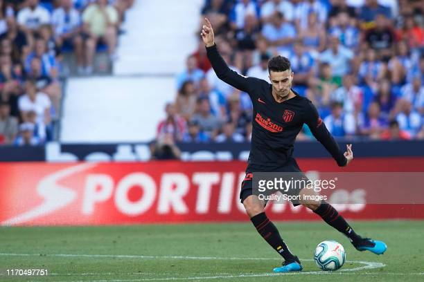 Mario Hermoso of Club Atletico de Madrid in action during the Liga match between CD Leganes and Club Atletico de Madrid at Estadio Municipal de...