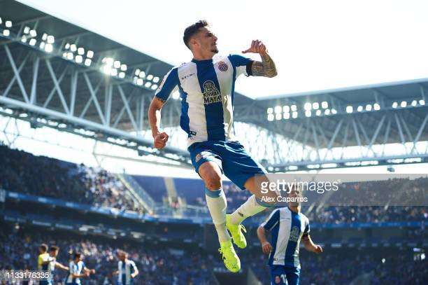 Mario Hermoso of RCD Espanyol celebrates after scoring his team's second goal during the La Liga match between RCD Espanyol and Real Valladolid CF at...