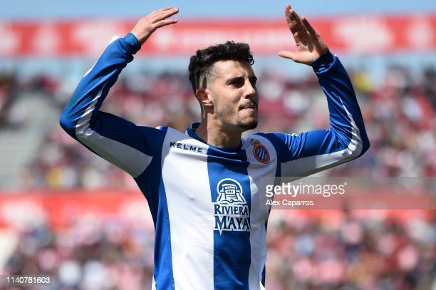 Mario Hermoso of RCD Espanyol celebrates his sides first goal during the La Liga match between Girona FC and RCD Espanyol at Montilivi Stadium on...