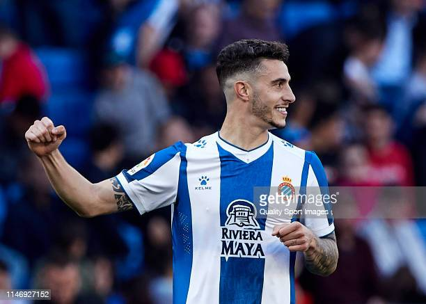 Mario Hermoso of RCD Espanyol celebrates their team's third goal during the La Liga match between RCD Espanyol and Club Atletico de Madrid at RCDE...