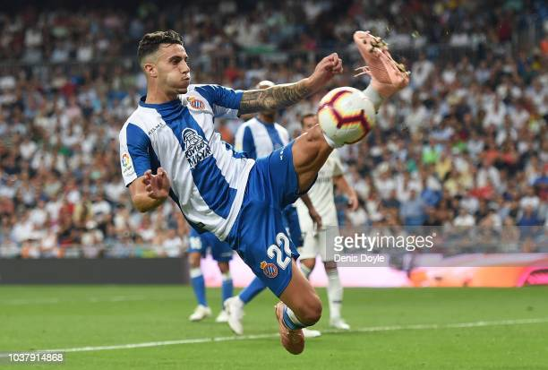Mario Hermoso of RCD Espanyol controls the ball during the La Liga match between Real Madrid CF and RCD Espanyol at Estadio Santiago Bernabeu on...