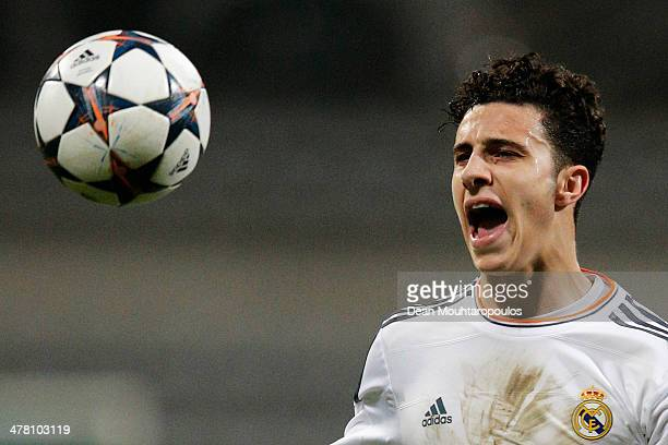 Mario Hermoso of Real Madrid in action during the UEFA Youth League Quarter Final match between Paris SaintGermain FC and Real Madrid at Stade...