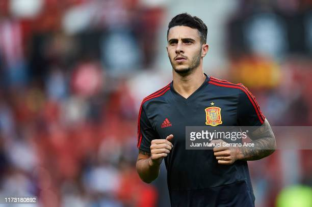 Mario Hermoso of Spain looks on as he warms up during the UEFA Euro 2020 qualifier match between Spain and Faroe Islands at Estadio Municipal El...