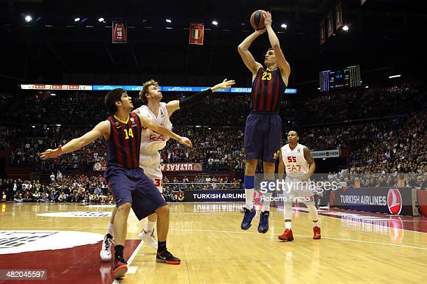 Mario Hezonja, #23 of FC Barcelona in action during the 2013-2014 Turkish Airlines Euroleague Top 16 Date 13 game between EA7 Emporio Armani Milan vs...