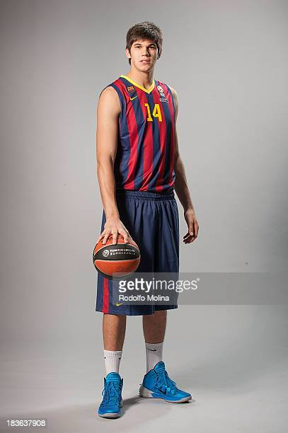 Mario Hezonja #23 of FC Barcelona poses during the FC Barcelona 2013/14 Turkish Airlines Euroleague Basketball Media Day at Palau Blaugrana on...